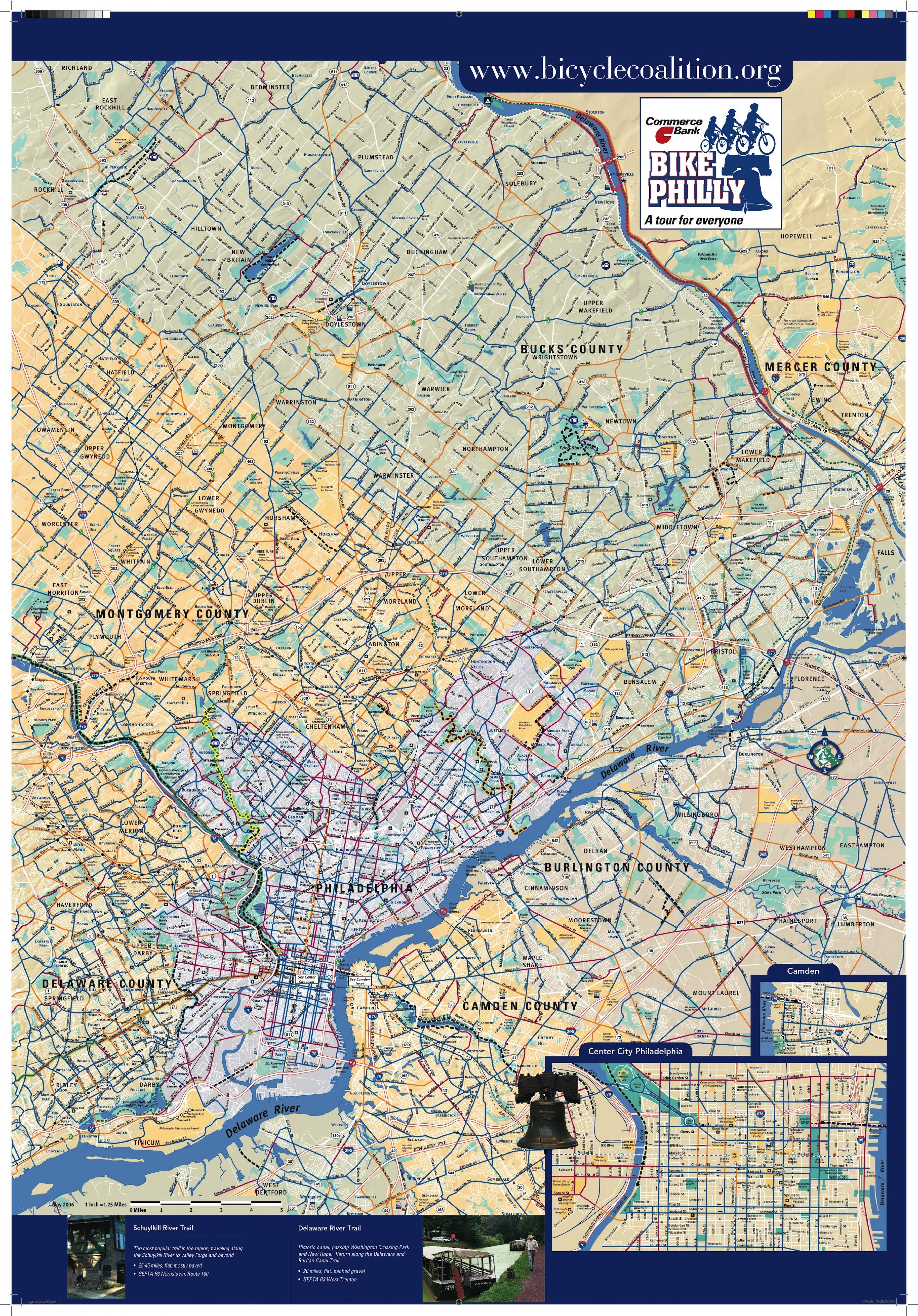 Cykel Kort Philadelphia Philly Cykel Kort Pennsylvania Usa